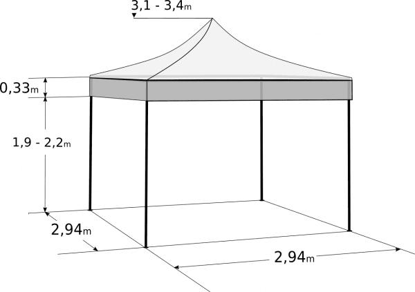 Gyorsan összecsukható sátor 3x3m – profi hexagonális alumínium: Méretek és paraméterek