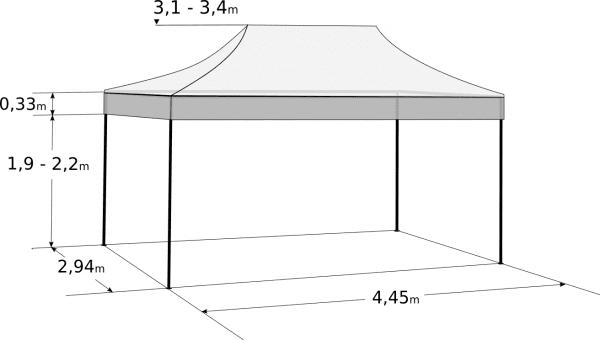 Gyorsan összecsukható sátor 3x4,5m – profi hexagonális alumínium: Méretek és paraméterek