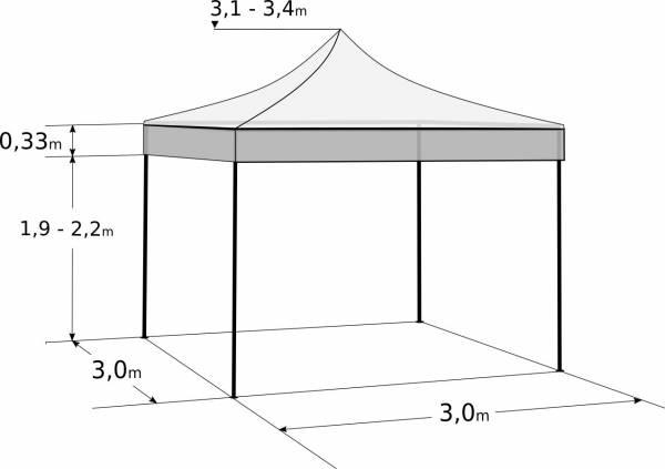 Gyorsan összecsukható sátor 3x3 m - hexagonális alumínium: Méretek és paraméterek