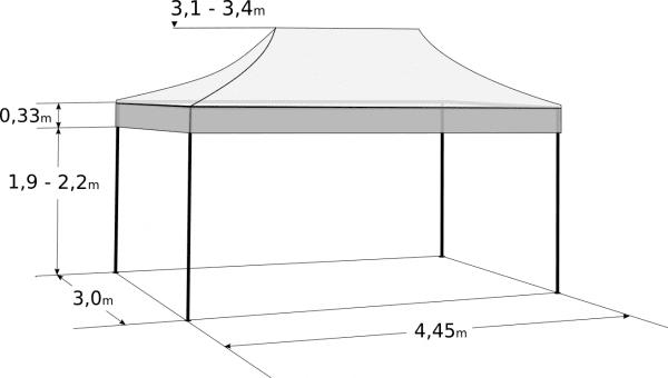 3x4,5m szétnyitható sátor – Profi alumínium hexagon