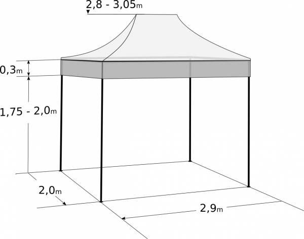Gyorsan összecsukható sátor 2x3m – acél: Méretek és paraméterek