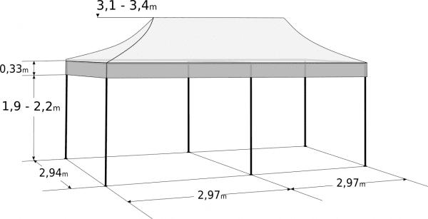 Gyorsan összecsukható sátor 3x6 m - hexagonális alumínium: Méretek és paraméterek