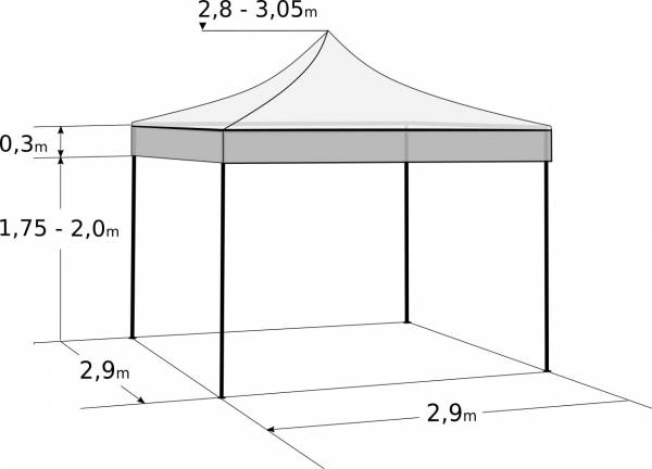 Gyorsan összecsukható sátor 3x3 m - alumínium: Méretek és paraméterek