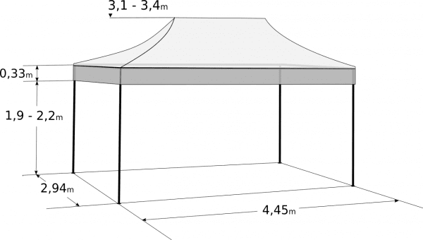 Gyorsan összecsukható sátor 3x4,5m - hexagonális alumínium: Méretek és paraméterek