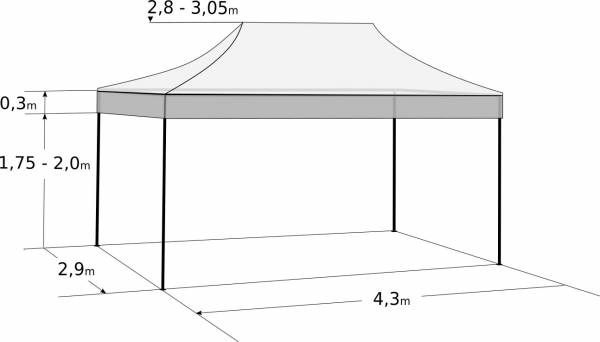 Gyorsan összecsukható sátor 3x4,5 m – acél: Méretek és paraméterek