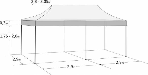 Gyorsan összecsukható sátor 3x6m - acél: Méretek és paraméterek