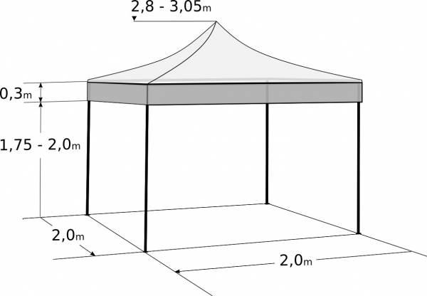 Gyorsan összecsukható sátor 2x2m – acél: Méretek és paraméterek